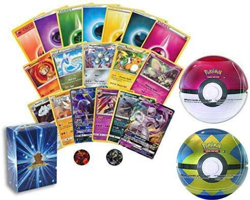 50 Assorted Pokemon Cards - 1 GX Ultra Rare, 3 Rares, 1 Holographic Rare, and Sealed Pokeball Tin containing 3 Pokemon TCG Booster Packs and 1 Pokemon...