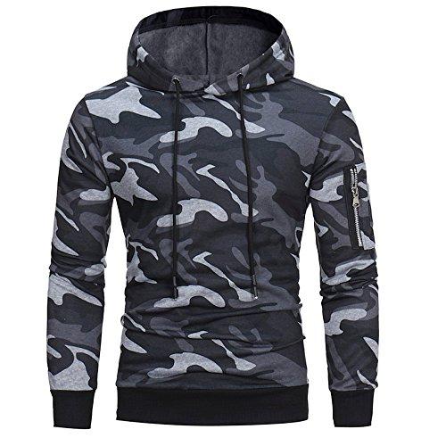 Kobay Hommes Manche Longue Camouflage À Capuche Sweat Tops Veste Manteau Outwear(FR-50/CN-M,Gris)
