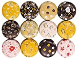 Candy Tins Jars Colorful Flower Metal Tin with Lid Empty Round Metal Storage Tin Cans Jars Containers Travel Storage Tins,for Making Candles Candy Cookie Lip Balm DIY Cosmetics Ointment,12 Pack