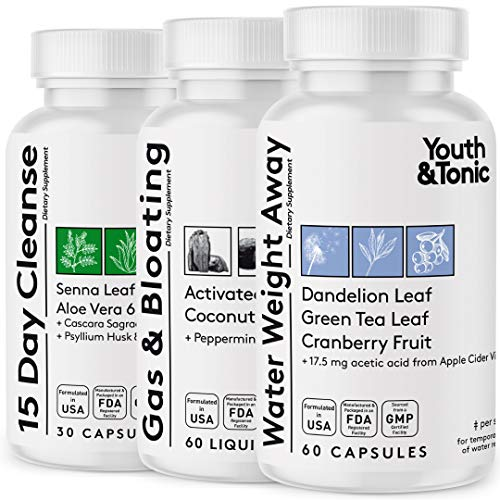 3pk Water Weight & Waste Loss & Belly Bloat to Reduce Fast Waist Line & Gas Bloating | Body Cleanser Combo for Weight Control | Colon Cleanse Leg & Ankle Swelling Relief Charcoal Detox for Men & Women