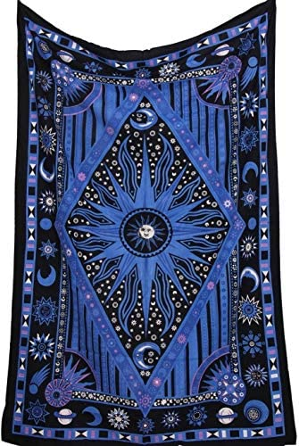 Twin Blue Tie Dye Purple Burning Sun Tapestry Celestial Sun Moon Planet Bohemian Tapestry Tapestry product image