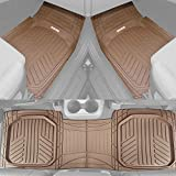 Motor Trend FlexTough Plus Beige Rubber Car Floor Mats – All Weather Deep Dish Automotive Floor Mats, Heavy Duty Trim to Fit Design, Odorless Floor Mat Liners for Cars Truck Van SUV