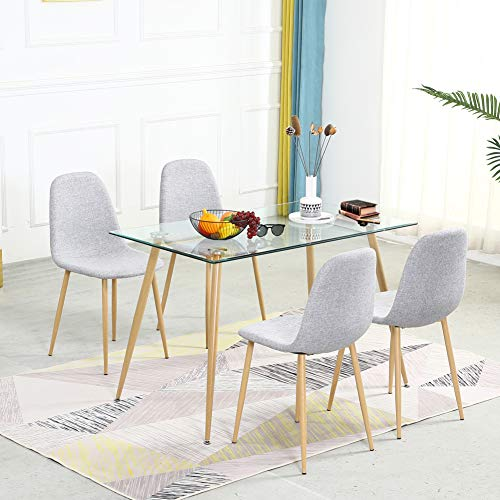 5 Pieces Modern Dining Table Set for 4 Person,with Rectangle Tempered Glass Top and 4 Fabric Kitchen Room Chairs,Dining Room Table and Chairs Set for Home and Small Space (Table + 4 Light Grey Chairs)