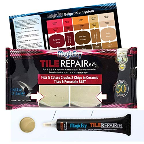 MagicEzy Tile RepairEzy - (Honey Beige) Porcelain and Ceramic Tile Repair Filler - Fix Chips and Holes in Floor and Wall Tiles Fast -1 x .43floz Tube