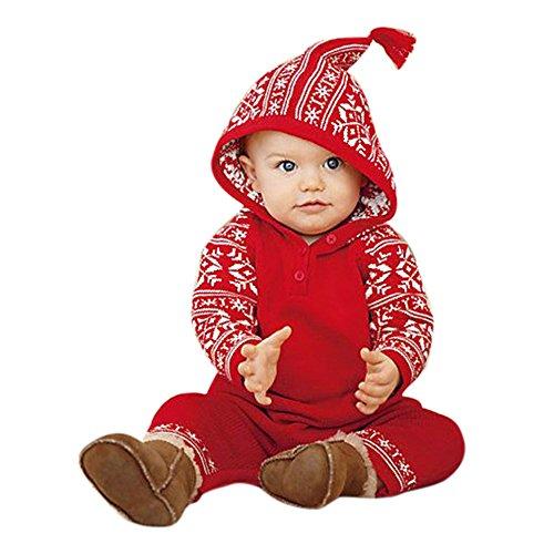 Homebaby - Bambino Ragazzo Delle Neonate Stampa Natalizia Pagliaccetto Con Cappuccio Tuta Abiti Da Pigiama Costume Di Natale Abbigliamento Regalo Bambini