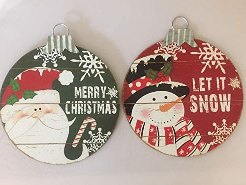 Christmas Hanging Decoration Wall or Door Ornament Large Wood and Metal Let it Snow Snowman product image