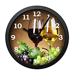 Ja Yhou dontcy Black Vintage Silent Non Ticking Wall Clock - Grape and Wine 12 Inch Quality Quartz Battery Operated Personality Fashion Round Home/Office/Classroom/School Clock