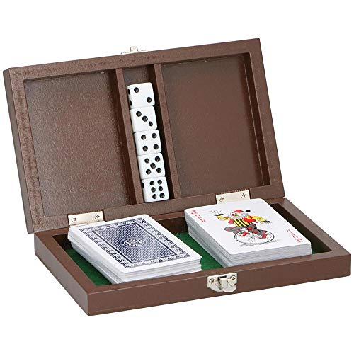 BAKAJI Set Mazzo di Carte Francesi + 5 Dadi Portatile con Custodia in Legno e Velluto per Poker Texano Bridge Burraco Dimensioni: 18 x 11 x 3 cm