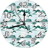 パステルトーンのヤシの木とビーチヒルズペーパーカットスタイル壁掛け時計 電池式 静音 10インチ ビンテージ カラフルなキッチン壁時計 静音 アナログクォーツ 子供部屋 リビングルーム バスルーム リビングルーム装飾