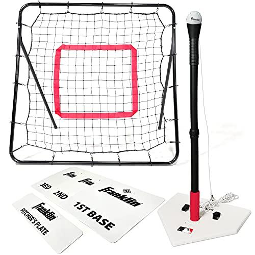 Franklin Sports MLB Teeball Starter Set - Youth Baseball and Tball Tee, Baseball and Bases with Rebounder Net - Full Beginner Teeball + Baseball Set