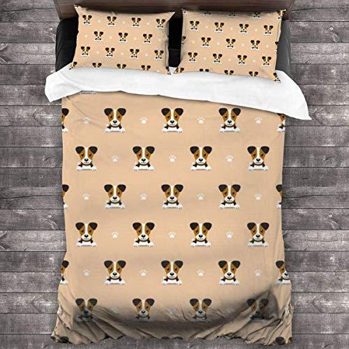 Butlerame Duvet Cover Set,Cute Jack Russell Terrier Print Bedding Set Lightweight Microfiber Comforter Cover 3 Piece Bedding Sets With 2 Pillow Shams.