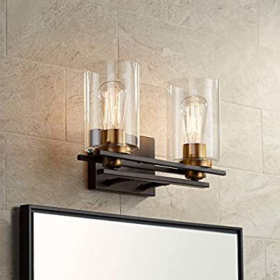 """Demy Vintage Industrial Wall Light Oil Rubbed Bronze Gold Hardwired 14"""" Wide 2-Light Fixture Clear Glass Cylinder for Bathroom Vanity Mirror - Possini Euro Design"""
