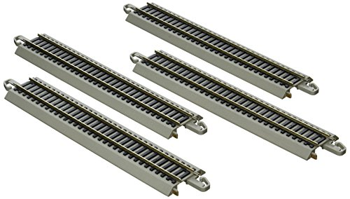 Bachmann Trains E-Z TRACK REVERSING 9' STRAIGHT (4/card) - NICKEL SILVER Rail With Grey Roadbed - HO Scale