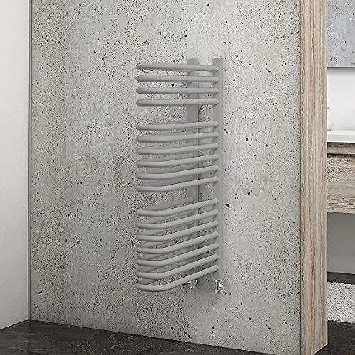 Schulte Bad-Heizkörper Raumteiler Porto, 80 cm, 649 Watt, beidseitiger Anschluss unten, Silbergrau, Design-Heizkörper für Zweirohr-Systeme mit Handtuchhalter-Funktion
