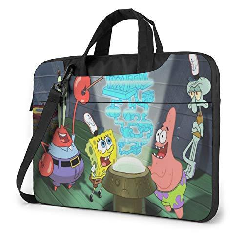 Spongebob Squarepants Laptop Bag Laptop Messenger Bag, Laptop Shoulder Bags Polyester Messenger Carrying Briefcase Sleeve with Adjustable Depth at Bottom 15.6 inch