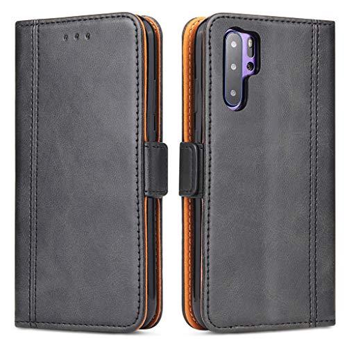 Bozon Huawei P30 Pro Hülle, Leder Tasche Handyhülle für Huawei P30 Pro Flip Wallet Schutzhülle mit Ständer & Kartenfächer/Magnetverschluss (Schwarz-Grau)