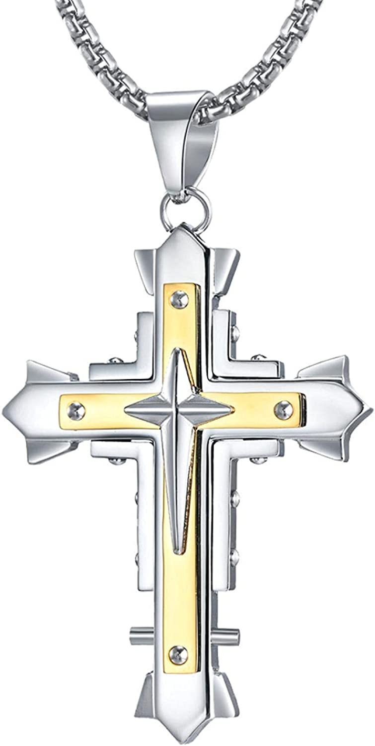 Multi-Layer Cross Pendant Necklace For C All stores are sold Men Free shipping on posting reviews Him Steel Stainless