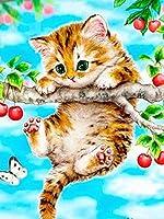 5Dダイヤモンドペインティングキット大人用猫クロスステッチキットダイヤモンド刺繡ラインストーン漫画モザイク手作りギフトスクエアドリル30×40cm