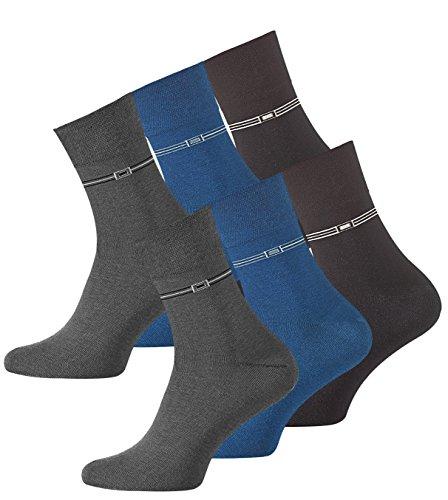 VCA 6 Paar Herren Socken Kurzschaft aus gekämmter Baumwolle, ohne Gummibund, ohne Naht, Top Qualität. Gr. 43-46