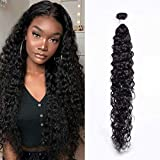 Maxine Brazilian Water Wave Human Hair 1 Bundles 40 Inch (100g/Bundle) 10A Unprocessed Remy Curly Hair Bundle Virgin Water Hair Weave Extensions 40 Inch