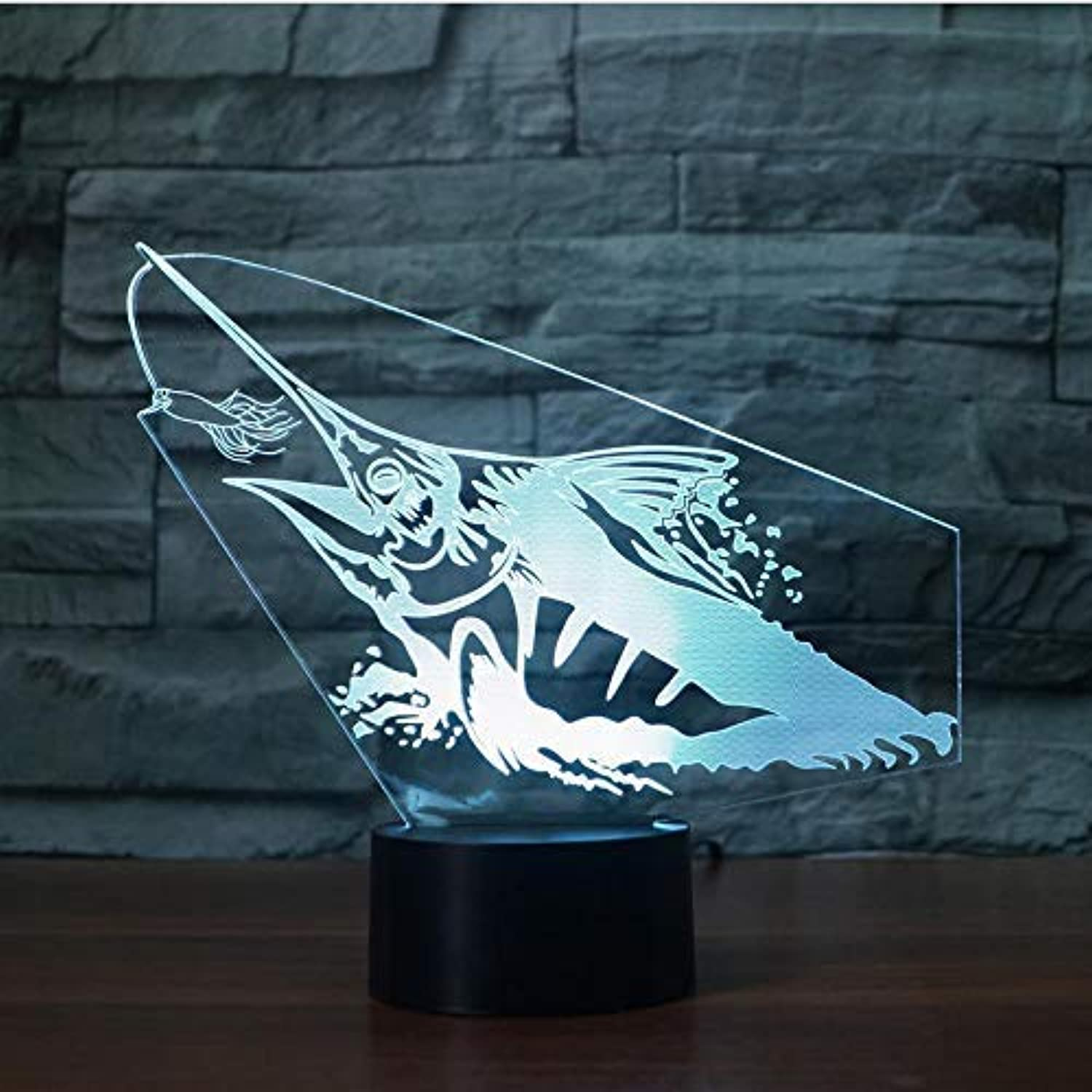 BMY Creative Fishin3D Night Light Fish Mode3D Illusion Lamp Led 7 color Changing USB Touch Sensor Atmosphere Lamp