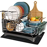 Dish Drying Rack, MICOCAH 2 Tier Large Dish Rack and Drainboard Set with Swivel Spout, Fully Customizable Dish Drainer for Kitchen Counter with Utensil Holder, Cutting Board Holder, Wine Glasses Rack