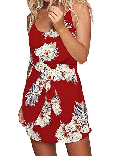 ACHIOOWA Sommerkleid Damen Ärmellos Strandkleid Chiffon V-Ausschnitt Bohemian Casual Sexy Mini Trägerkleid Rot-707140 S