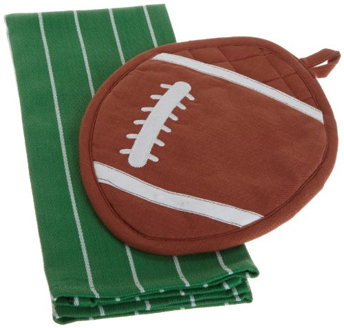 DII Game Day Football Shaped Pot Holder and Dishtowel