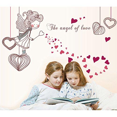 Le style de fée avec des cœurs Autocollant mural de PVC à la maison papier peint en vinyle pour la décoration papier peint au salon, à la chambre et à la cuisine les photos d'art DIY à la salle de jeux pour des enfants