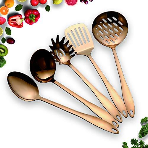 HOMQUEN Set di Utensili da Cucina in Acciaio Inossidabile 5 Utensili da Cucina in Rame, Set di Utensili da Cucina Antiaderenti, Acciaio Inossidabile Massiccio per Cottura BBQ (Oro Rosa)