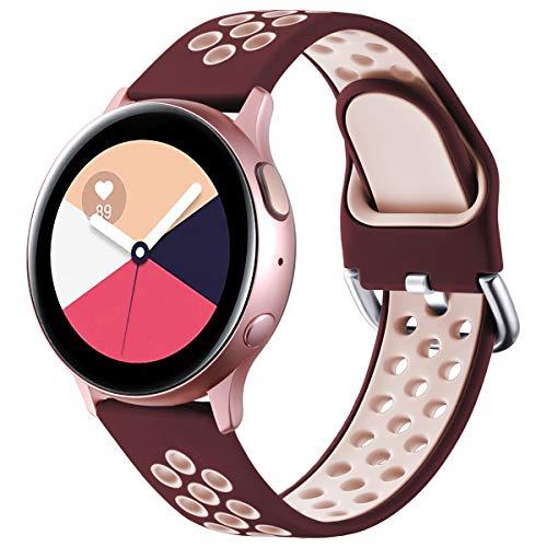 Vobafe Cinturino Compatibile con Samsung Galaxy Watch Active Active 2 Cinturino 40mm 44mm, Ricambio in Silicone Sportivo Cinturino per Galaxy Watch 3 41mm Gear S2 Classic Sport, S Vino Rosso Rosa