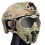YCYR Casque tactique rapide, système de ventilation antibuée - Masque de protection intégral amovible et lunettes - Ensemble pour airsoft, paintball, jeu CS, lunettes CP, casque