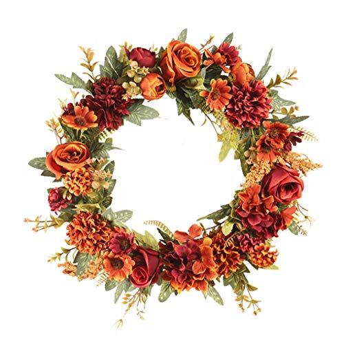 rongweiwang Floral de la simulación Artificial del Festival de la Guirnalda de la Guirnalda de la Guirnalda de Rose Room Decor Sala Verde decoración de la Pared