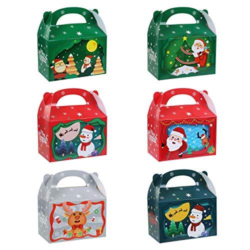 GWHOLE 24 Navidad Cajas para Regalo Cajas para Dulces Chuches Cajas de Papel Tema Navidad de Colores, Caja con Asas para Guadar Magdalena Navidad Galletas Tarta Pastel -15,5 x 9 x 17 cm
