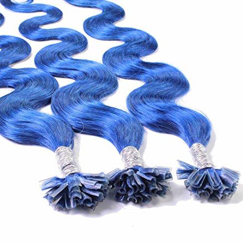 Hair2Heart 25 x 0.5g Extension Capelli Veri Cheratina - 40cm, Colore #Blu, ondulato