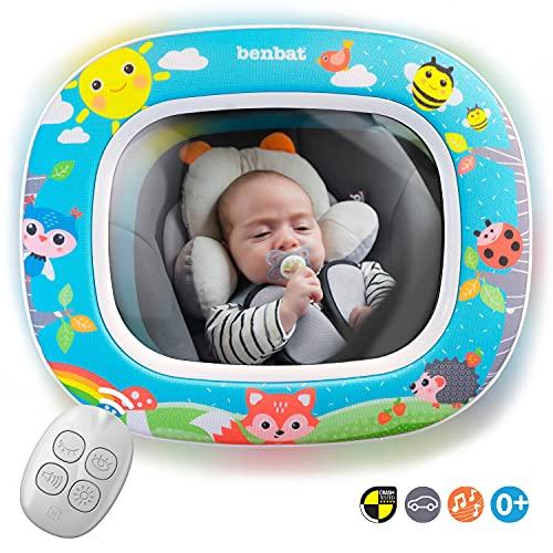 BENBAT BABY CAR MIRROR - 뒷면 영아용 안전차 시트 미러 - 방파제 투명 와이드 비전 데이 및 나이트 - 원격 제어를 통한 엔터테인 시 및 수트 - 충돌 테스트 및 인증 블루