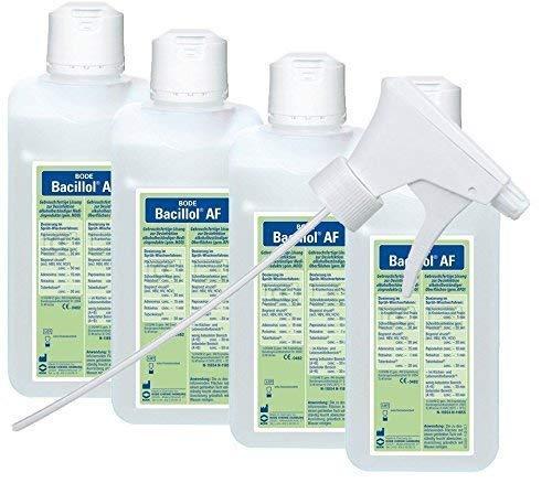 4 x Bode | Hartmann Bacillol AF 500 ml Schnelldesinfektionsmittel + 1 x Medi-Inn Sprühkopf