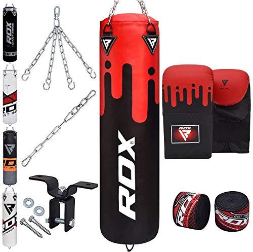 RDX Sacco da Boxe Pieno Arti Marziali MMA Sacchi Pugilato Kick Boxing Muay Thai con Guantoni Allenamento Catena Gancio Soffitto 8PC Punching Bag Set 4FT 5FT