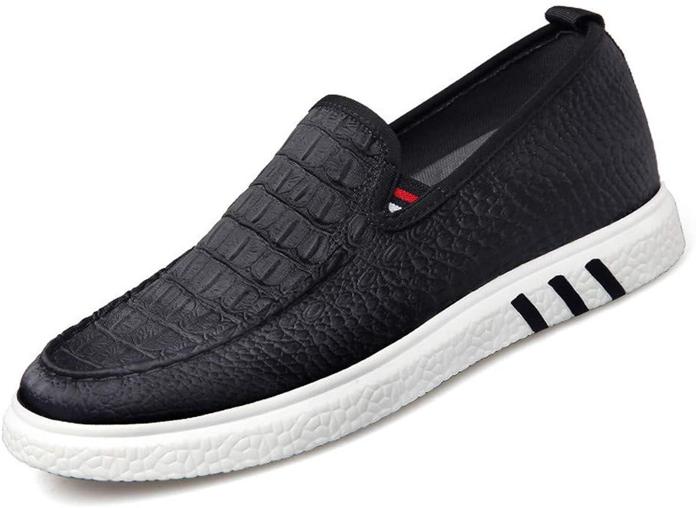GOG Height Increasing Elevator Men's Imitation Leather Cloth Crocodile Pattern Casual Slip On shoes Black
