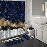 MitoVilla 4 Pcs Navy Blue Marble Shower Curtain Sets with Rugs, Navy Blue Gold Bathroom Sets with Shower Curtain and Rugs and Accessories, Modern Shower Curtain for Bathroom Decor, Gold