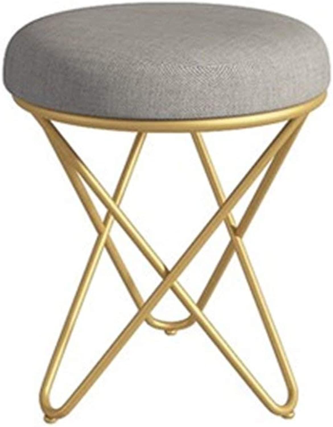 LLYU Stool Nordic Dressing Table Stool Bedroom Living Room Coffee Table Stool Household Low Iron Stool (color   gold)