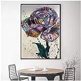 cuadros decoracion salon Rose Flowers Home Modular Canvas Pictures Graffiti Poster Impresiones Pintura Decoración Arte de la pared del amor Sin marco para la sala de estar 15.7x19.7in (40x50cm) x1pcs