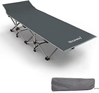 Niceway Oxford Portable Folding Bed Camping Cot with Storage Bag,Weight Capacity to 300lbs, Strong Stable Collapsible Fold...