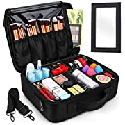 InnoGear Makeup Bag, Portable Large Space Makeup Case Double-Layer Professional Cosmetic Storage Bag with Mirror and Tape Suitable for Travel business Trip