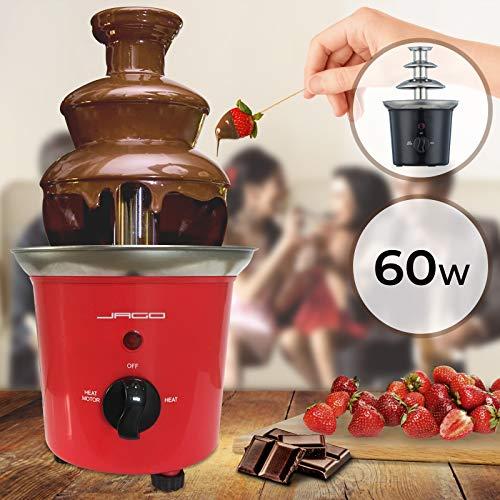 Schokoladenbrunnen 60W - 3 Etagen, 400 gr Kapazität, Edelstahl, Spülmaschinenfest, Rot oder Schwarz - Schokobrunnen, Schokofondue, Schokoladenfondue (Rot)