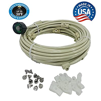 Patio Misting Kit - Pre- Assembled Misting System - Simply unpack and Attach - Cools temperatures by up to 30 Degrees - for Patio, Pool and Play Areas (36 Feet - 8 Nozzles)