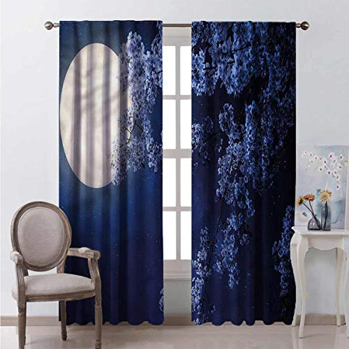 Toopeek Night Sky Heat insulation curtain Full Moon Cherry Blossom For living room or bedroom W72 x L96 Inch