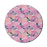 Floral Mouse Pad für Computer, Illustration von wiederholten Rosenblüten mit Leinwand Design in Frühlingstönen, rundes rutschfestes dickes Gummi Modern Gaming Mousepad, 8 'rund, pink und mehrfarbig