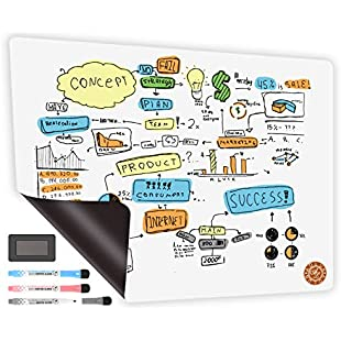 """A3 Magnetic Whiteboard Fridge,Customisable Dry wipe Whiteboard Menu Meal Planner, Memo Notice Or Weekly Shopping List Stain Resistant Technology Included 3 Magnetic Dry Erase Markers and Big Eraser-17 x 11"""":Peliculas-gratis"""