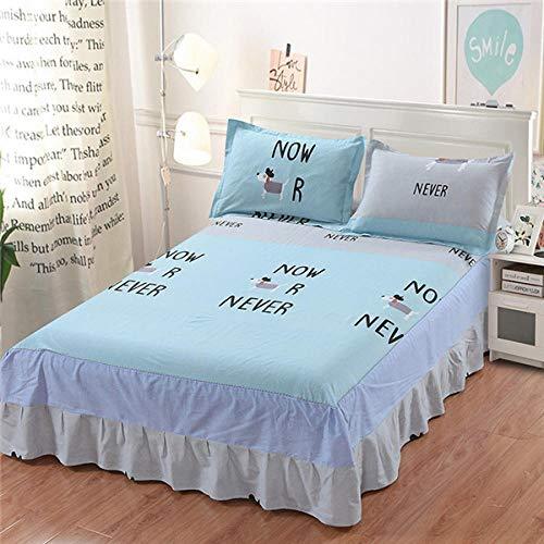 LLDEJUSH Sábanas Encimeras 3 Piezas Azul Blanco Animal Print Colcha 100% Algodón Dinosaur Bedding Bed Falda...